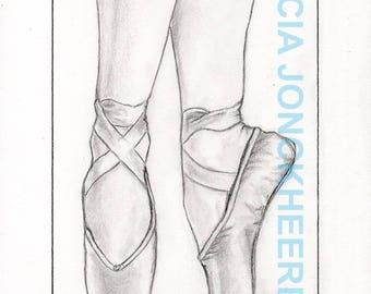 Let's dance - ballet shoes ballerina on the tips.