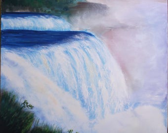 Waterfall Original Handmade Oil Painting on canvas Impressionism Niagara Falls Landscape fine art romantic Home Decor Nature Painting