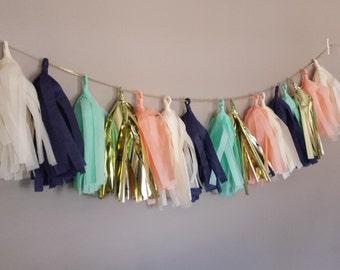 Gold, navy, peach, mint, ivory tassel garland. Tissue garland. Carousel party, baby shower, bridal shower, nursery. Bachelorette decor.