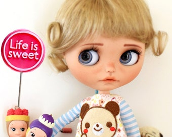 "10-11"" BEAUTIFUL Short Blond doll WIG for Blythe and Neo Blythe Custom, American Girl"