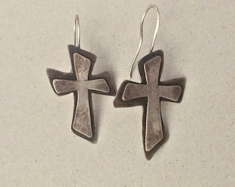 Silver cross earrings, hand forged layered crosses with oxidized textures