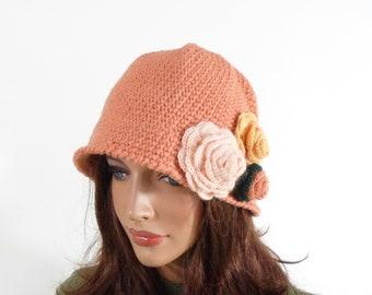 Crochet Cloche Hat with 3 Crochet Flowers - Peach