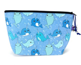 Gusseted Zipper NOTIONS POUCH with zipper pull - Happy Kawaii Narwhal