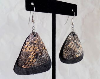 Bronze Snakeskin Printed Leather and Black Leather Rounded Triangle Earrings