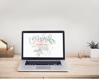 2018 Calendar | Hand Lettered Calligraphy Uniquely Designed DIGITAL 12-Month Calendar | Desktop & Phone Background