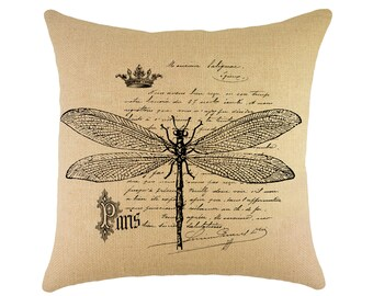 Dragonfly Pillow, French Farmhouse Throw Pillow, Shabby Cottage
