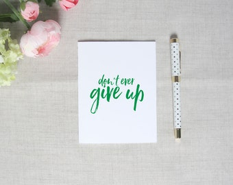 Don't Ever Give Up | Inspirational Greeting Card | Breast Cancer Awareness | Flamingos for a Cure | Blank Greeting Card | Encouragement Gift