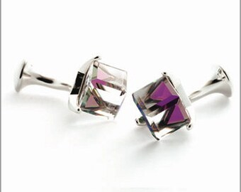 Rhodium Plated Cufflinks with Cube Swarovski Crystals CS002