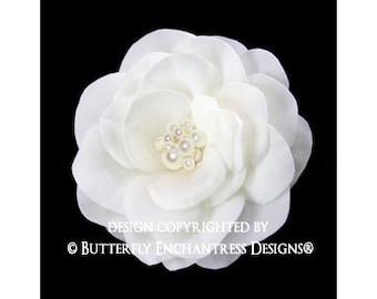 Ivory Gwyneth Gardenia Bridal Hair Flower Clip - Pearl Crystal Cluster - ButterflyEnchantress
