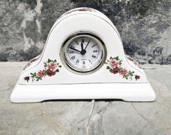 Porcelain Mantle Clock. Mini Vintage Clock. Little Clock. Floral Clock. Red Roses Clock.Pink Roses.  French Shabby. French Romantic. Ornate.