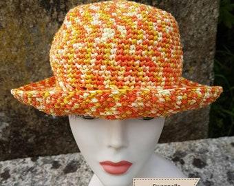 Summer Hat crocheted in a shades orange mustard yellow acrylic yarn with a pretty openwork pattern