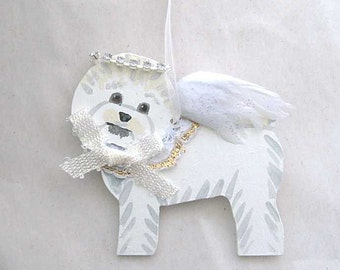 Hand-Painted BICHON FRISE Feathered Wing Angel Wood Ornament...Artist Original