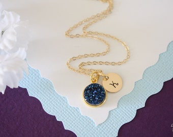 Gold Initial Druzy Necklace Blue, Crystal Necklace, Druzy Pendant, Gold Druzy, Dark Blue Pendant, Initial Jewelry, Natural Stone