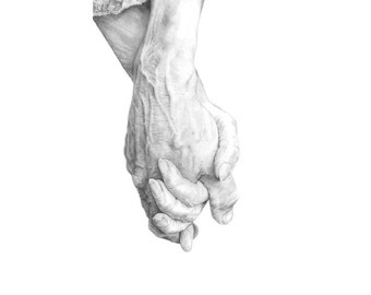 Forever, 12x17cm digital print from pencil drawing. My parents' hands  to symbolise a union forever.