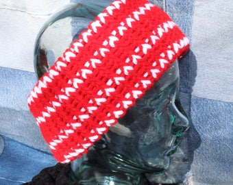 Red & White Extra Wide Head Earwarmer #151