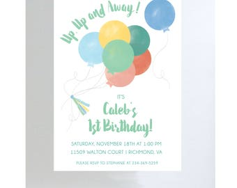 Multi Color Balloons Invitation//Birthday Party//Baby Shower