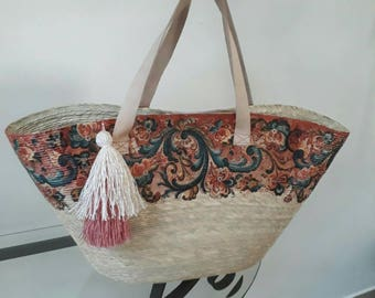 Handmade hand-sewn palm bag with leather handles, decorated in shades of coffee, roses and emerald green