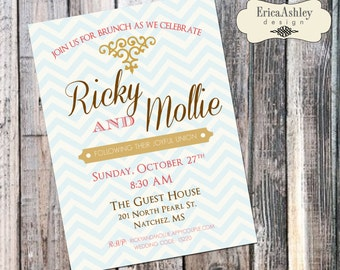 Chevron Wedding Brunch Invitation - 5 X 7  (Digital File Version Available)