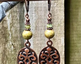 Copper Earrings, Green Earrings, Bohemian Earrings, Earrings, Rustic Earrings, Tribal Earrings, Ethnic Earrings, Boho Earrings, Earthy