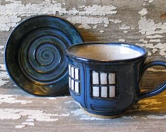 Police Box Tea Cup - Pottery Soup Mug - Handmade -  Doctor Who Tea Cup - Dr. Who