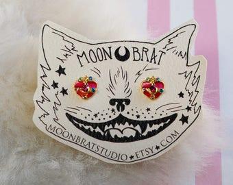 Sailor Moon Earrings - Cosmic Heart Compact Studs Magical Girl Kawaii Jewel Pastel Goth Fairy Kei Cosplay Valentine Gift