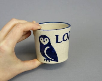 Personalized Child's Cup: Woodland Animal Handmade Ceramic Cup with Custom Name