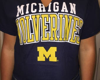 Michigan University Crop Front Cutout Lace Up Back College Tee (S)