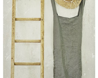 FROST GREY LINEN pinafore apron /  cross over apron