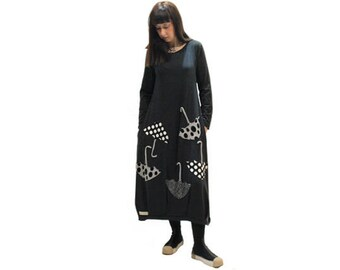 Black  dress  with umbrellas applique design/ women long organic cotton dress/ black dress / long sleeves dress/ black dress with pockets