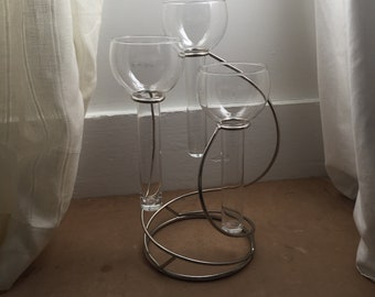 Davco Silver and Glass Modern Three Tier Candle Holder / Vase Centerpiece