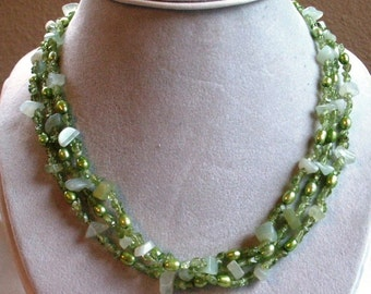 Three Strand Necklace of Peridot and New Jade Chips with Freshwater Pearls