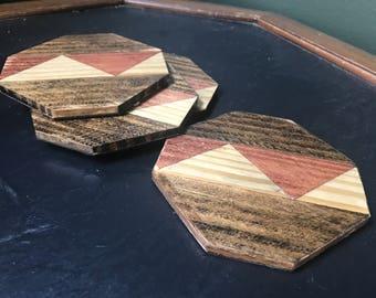 Wooden Octogon Coaster Set