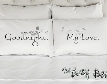 Goodnight My Love, Couples Printed Pillowcases (Set of 2) Wedding, Anniversary, Bridal Shower Gift