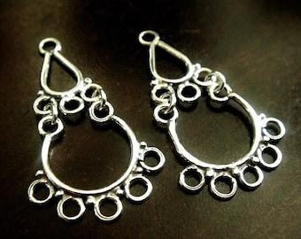 1 Pair Bali Sterling Silver Filigree Chandelier, Oxidized Earrings, 30x16x1mm