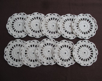 10 Handmade natural colors cotton crochet doilies for decorating your craft.