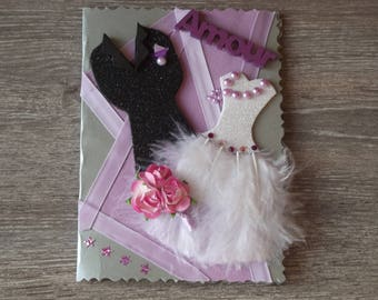 "Wedding congratulations card ""Feather duo: love"""