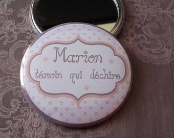 "Pocket mirror personalized ""witness tearing"" beige taupe"