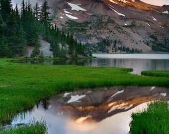 Glimmer - South Sister, Three Sisters Wilderness, Mountain, Green Lakes, Central Oregon, Landscape Photo, Metal Art