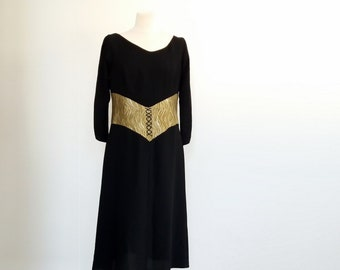 Black Evening Dress with Gold Waist Band, Black Dress, Black and Gold Party Dress