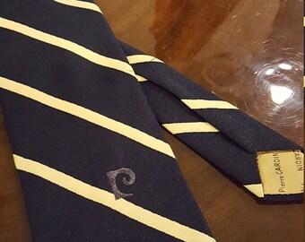 """Vintage Pierre Cardin necktie w/ monogram, navy with gold stripes, wide (3.5"""")"""