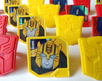 24 TRANSFORMERS Bumblebee & Optimus Prime rings for cupcake toppers cake birthday party favors goodie bags Autobot Protectors shield