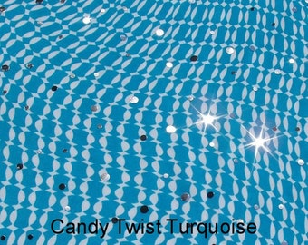 Turquoise White Silver Dots fabric lycra spandex