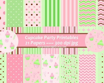 Cupcake Party Digital Paper, Party Supplies, Scrapbooking, Instant Download, 21 Printable Designs, Pink, Green