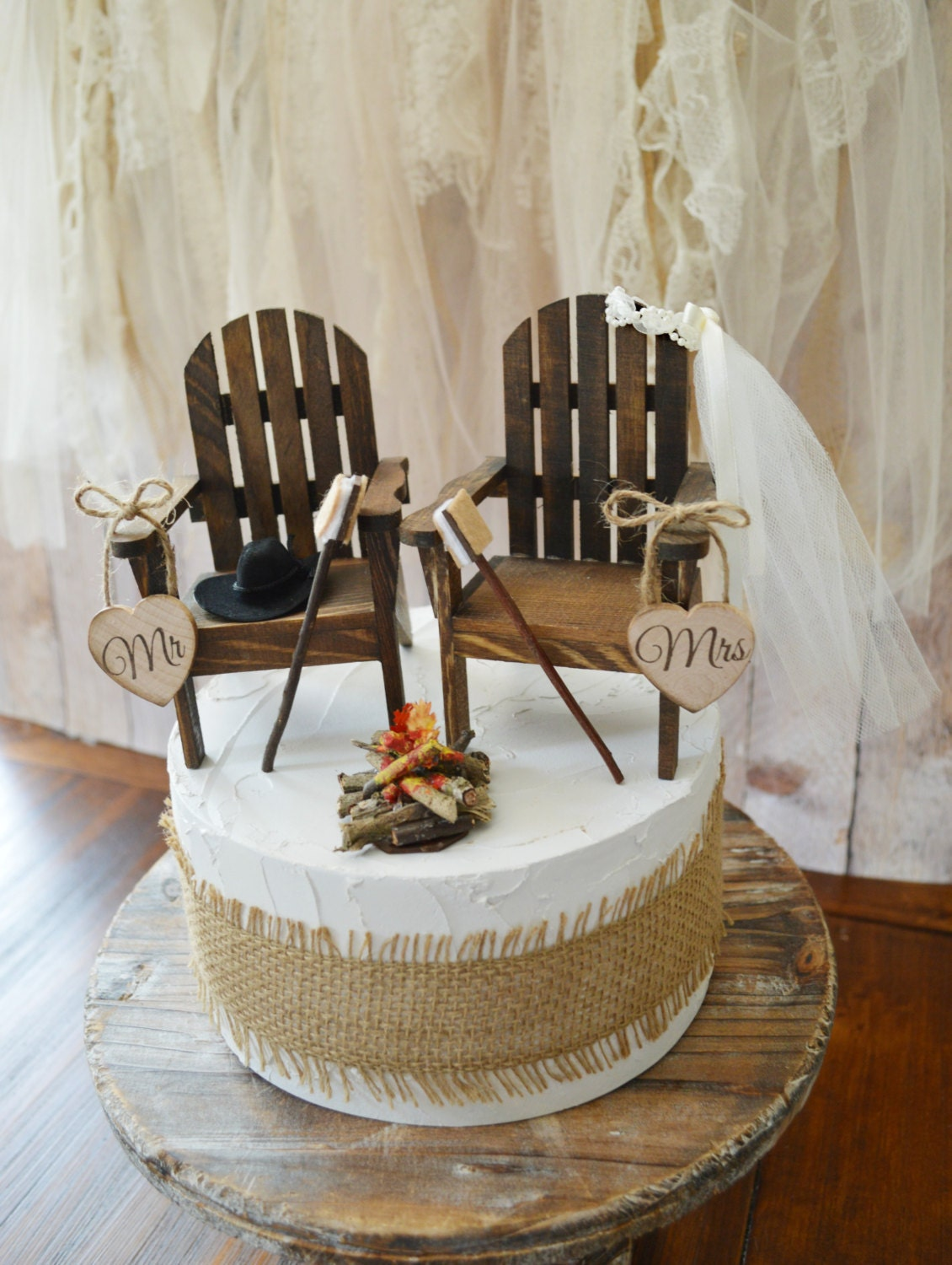 Camping Wedding Cake Topper Country Rustic Weddings Wood
