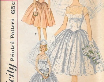 Vintage 1960s Simplicity 3958 Fitted Wedding Evening Dress Full Skirt Sewing Pattern Size 16 Bust 36