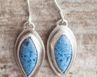 Blue Teardrop Dumortierite Stone Earrings Handmade