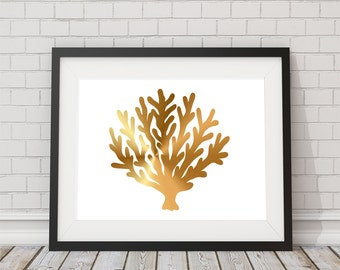 Gold Foil Coral Graphic Print  8x10 or 11x14  Matte Options Lips