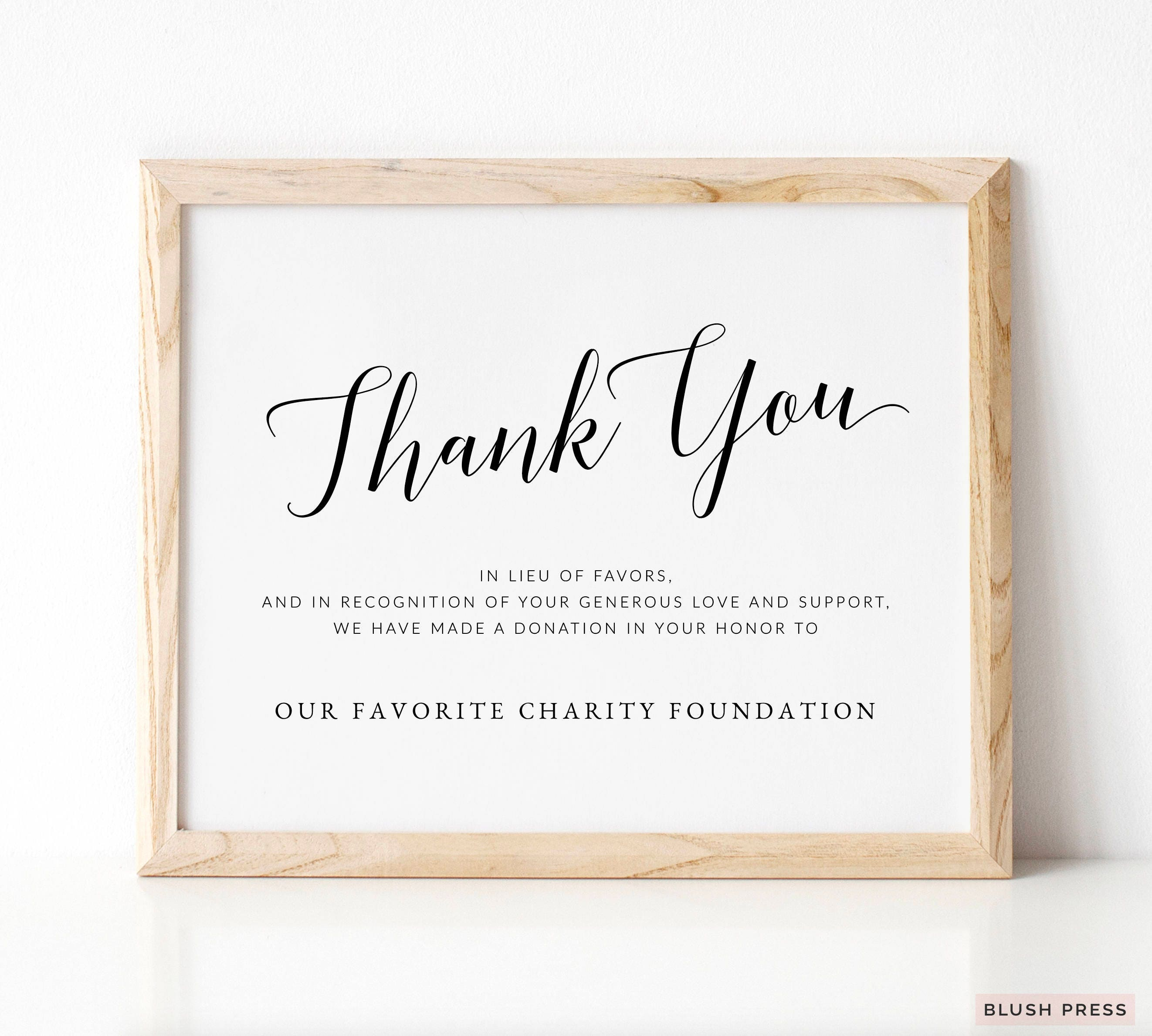 Thank You Donation Sign Template Printable Wedding Donation