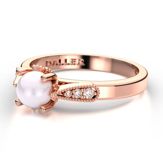 Pearl Engagement Ring Rose Gold Pearl Wedding Ring Pearl