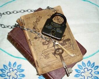 Antique Lock Skeleton Key and Bone Steam Punk Statement Oddities Crust Punk Necklace